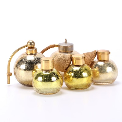 DeVilbiss Crackle Glass Perfume Bottles with Atomizers, Mid-20th Century