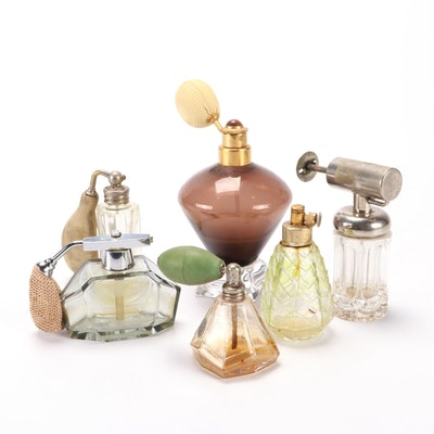 Art Deco Glass Perfume Bottles Including DeVilbiss, Early 20th Century