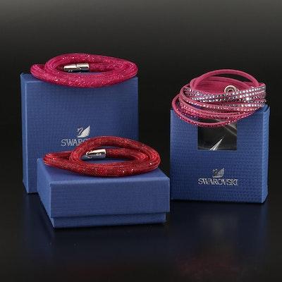 """Swarovski Suede and """"Stardust"""" Crystal Wrap Bracelets"""