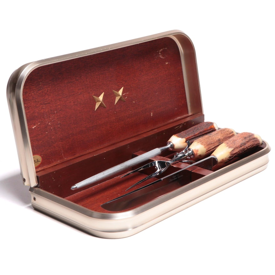 Case Cutlery Carving Set with Wooden Case, Mid-20th Century