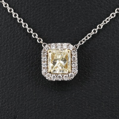 18K 1.18 CTW Diamond Halo Necklace