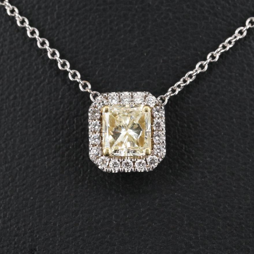 18K 1.18 CTW Diamond Halo Necklace
