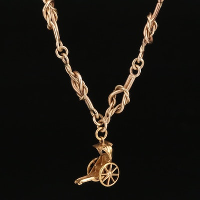 14K Articulated Rickshaw on Knotted Chain Necklace