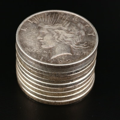 Ten Common Date Peace Silver Dollars