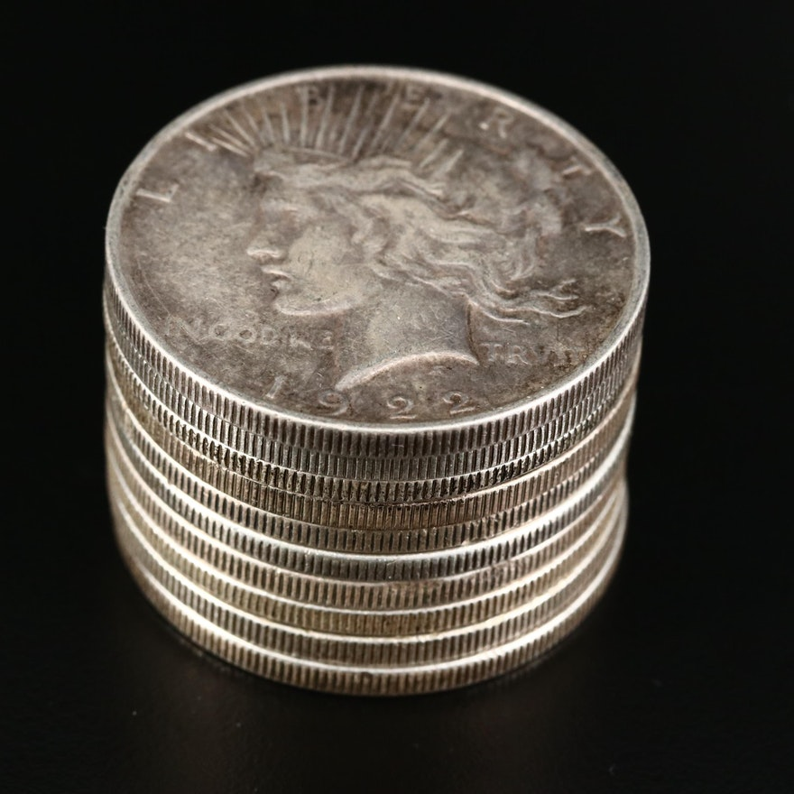 Ten Common Date Peace Silver Dollars