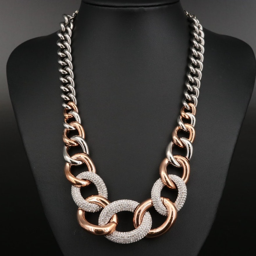 "Swarovski ""Bound"" Crystal Graduated Curb Chain Necklace"