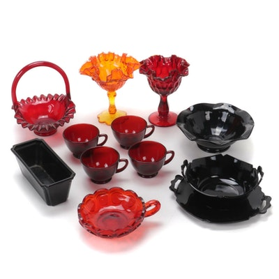 Fenton Ruffled Ruby Basket with Other Glass Serveware, Mid to Late 20th C.