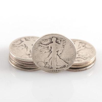 Ten Early Walking Liberty Silver Half Dollars