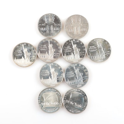 Ten Modern Proof and Uncirculated Commemorative Silver Dollars
