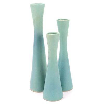 Van Briggle Mid Century Modern Ming Blue Graduated Ceramic Vases, Mid 20th C.