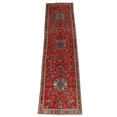 3'6 x 12'9 Hand-Knotted Persian Heriz Wool Long Rug