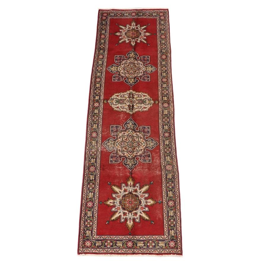 3'4 x 11'1 Hand-Knotted Persian Heriz Wool Carpet Runner