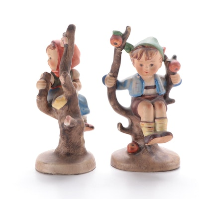 "Goebel ""Apple Tree Boy"" and ""Apple Tree Girl"" Porcelain Hummel Figurines, 1950s"
