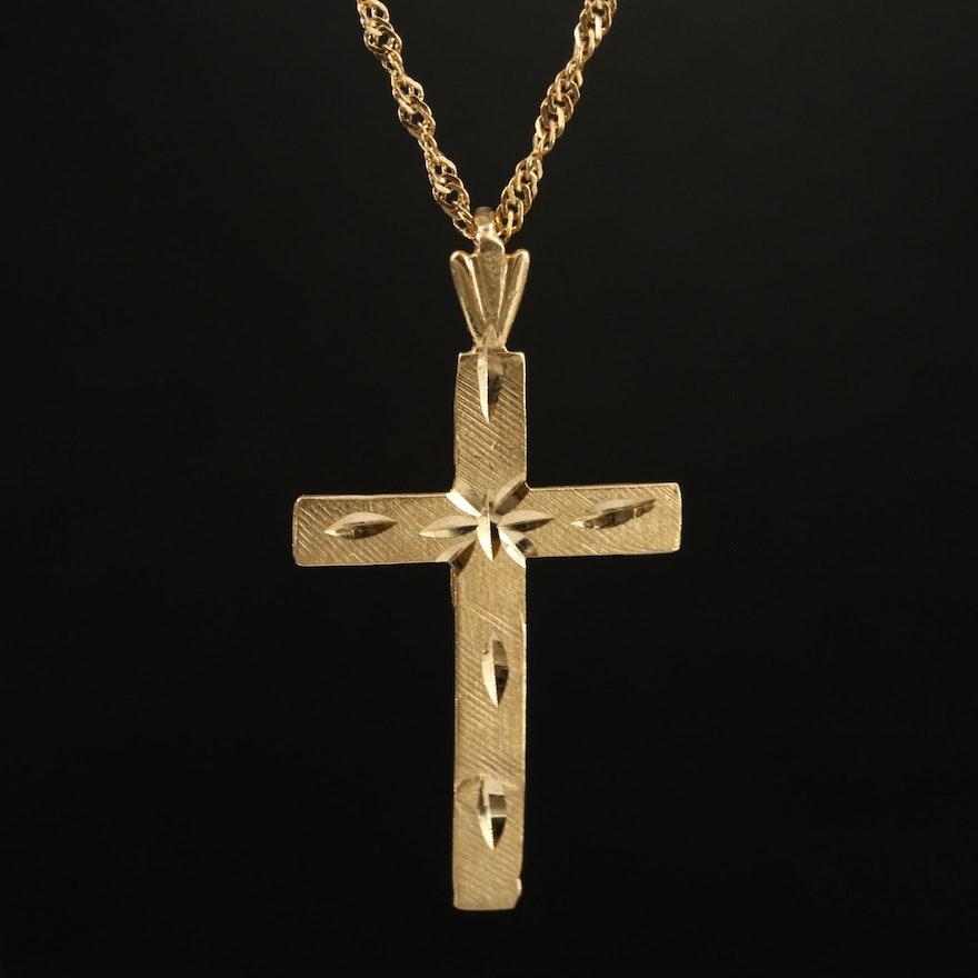 14K Diamond Cut Cross Pendant Necklace
