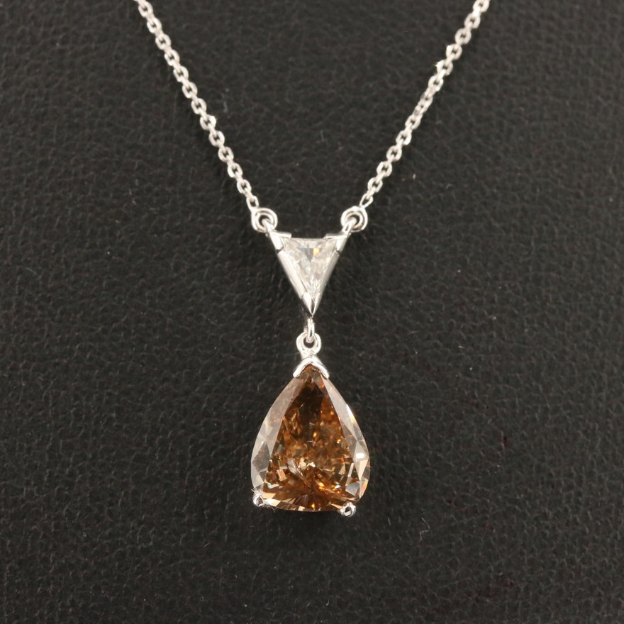 Palladium 2.11 CTW Diamond Pendant on 14K Chain Necklace with GIA Report