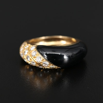 Van Cleef & Arpels 18K Diamond and Black Onyx Ring