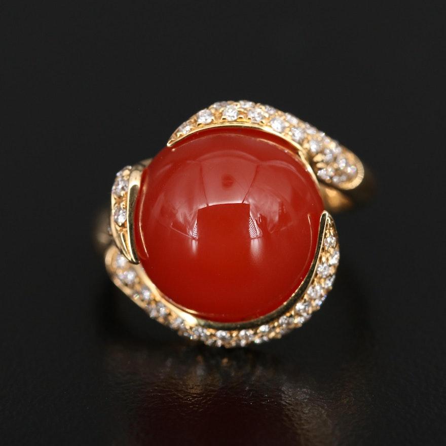 Luca Carati 18K Carnelian and Diamond Ring