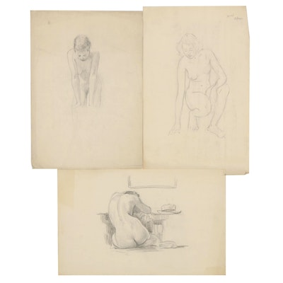 Paul Ashbrook Graphite Nude Drawings, Early 20th Century