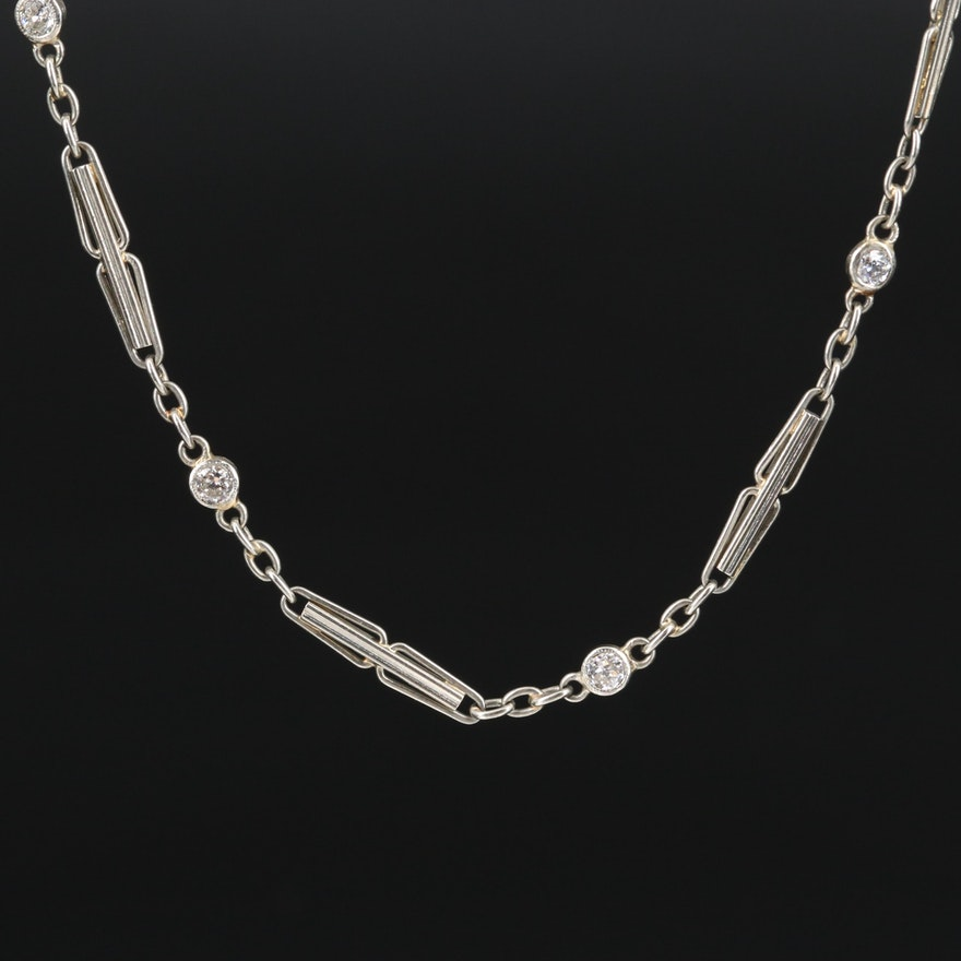 1930s 18K Diamond Watch Chain