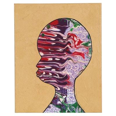 "Lanre Buraimoh Acrylic Painting ""Romance of the Head,"" 2010"