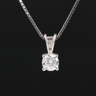 14K 0.54 CT Diamond Solitaire Necklace