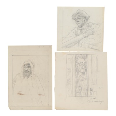 Paul Ashbrook Figural Drawings, Early 20th Century