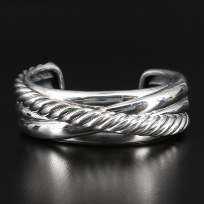 David Yurman Sterling Silver Crossover Cable Cuff