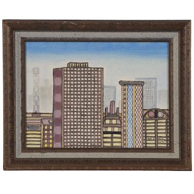 Alexander Maldonado Embellished Acrylic Painting of Cityscape, 1972