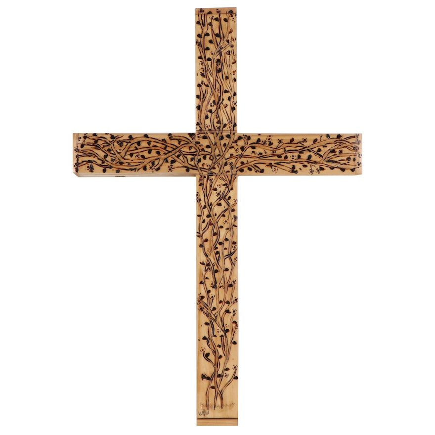 William Woodrum Scored Wooden Cross with Floral Pattern, Late 20th Century