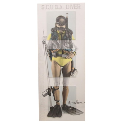 """William A. Silhan Mixed Media Assemblage """"S.C.U.B.A. Diver,"""" 1988"""