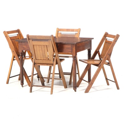 Four J. V. Young Folding Chairs with 19th Century Grain-Painted Writing Table