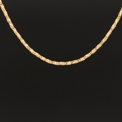14K Twisted Foxtail Chain Necklace