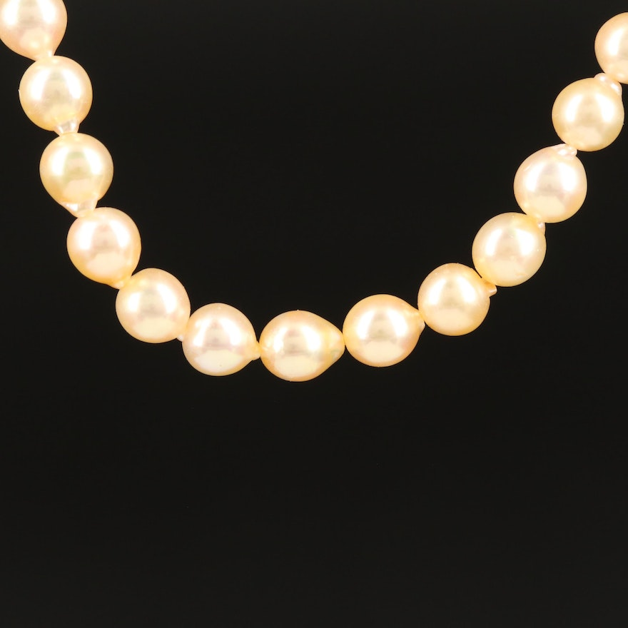 Semi-Baroque Pearl Necklace with 22K Clasp