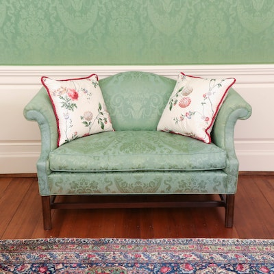 Chippendale Style Camelback Loveseat in Sage Green Damask Upholstery, 20th C.