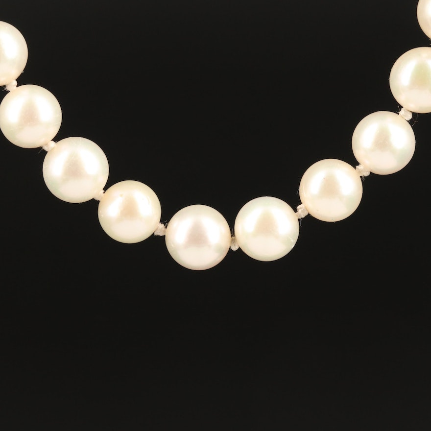 Single Strand Knotted Pearl Necklace with 14K Clasp