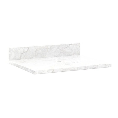 "25"" x 22"" Carrara Marble Vessel Sink Vanity Top with Backsplash"