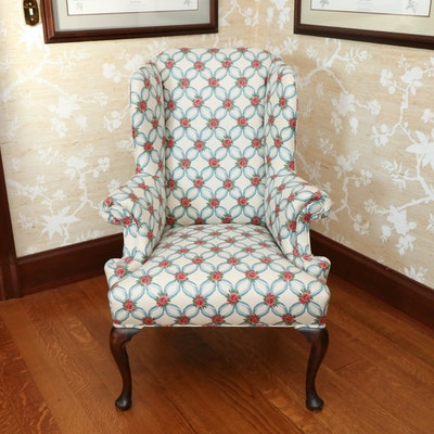 George II Style Wingback Upholstered Armchair