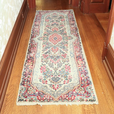 2'5 x 7'10 Hand-Knotted Persian Kerman Wool Carpet Runner