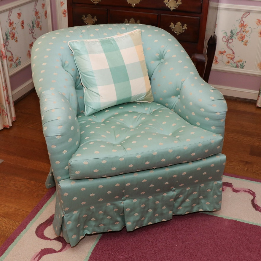 Baker Button-Tufted Armchair in Sage Green Upholstery