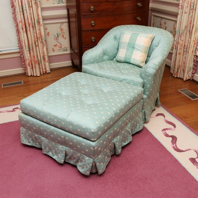 Baker Button-Tufted Armchair and Ottoman in Sage Green Upholstery