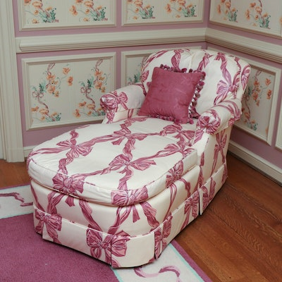 Baker Upholstered Chaise with Down Seating