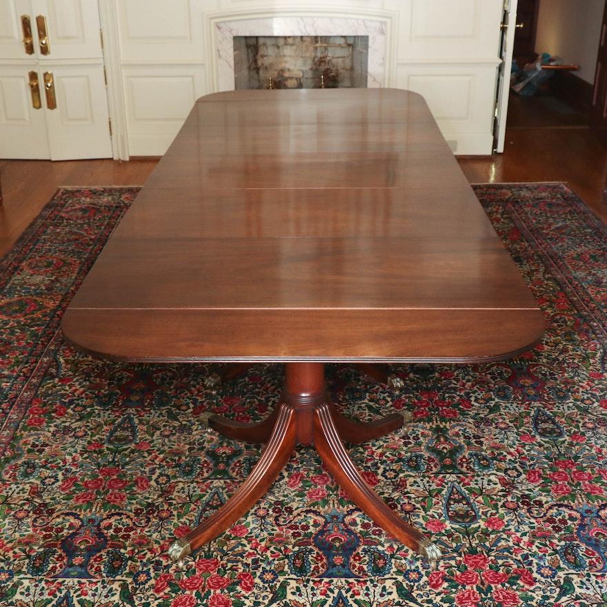 Regency Style Mahogany Triple Pedestal Dining Table, Circa 1920