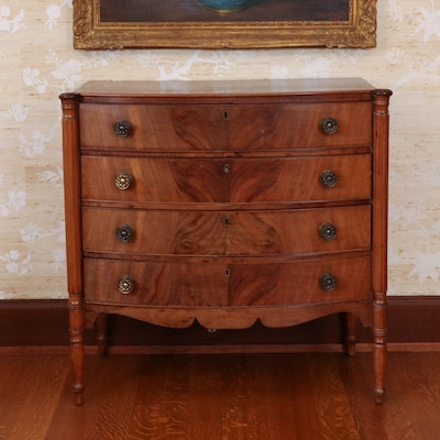 Federal Mahogany Bow Front Chest of Drawers, Probably Boston, circa 1815