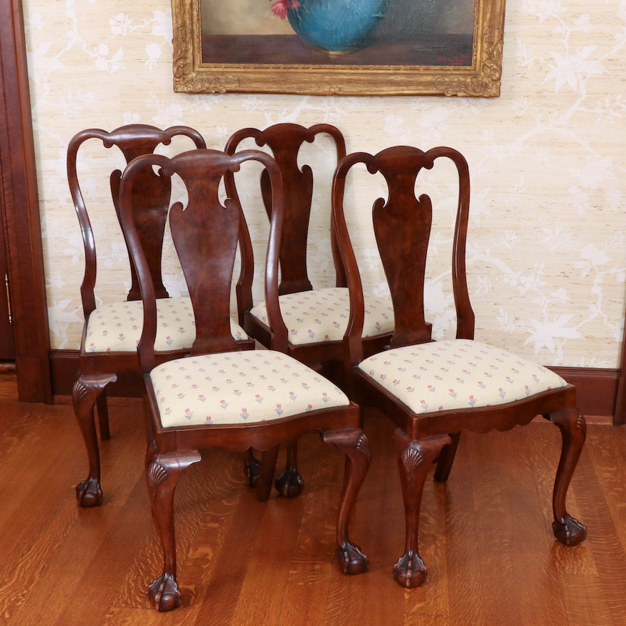 Queen Anne Style Splat-Back Chairs on Ball and Claw Feet, 20th Century