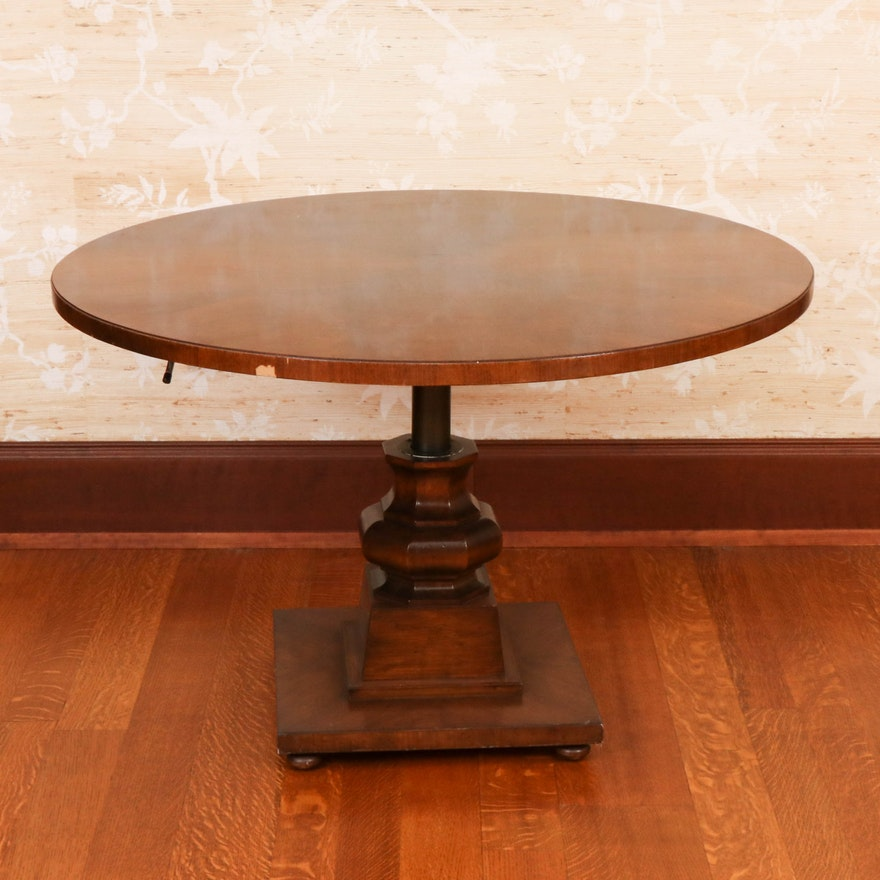 Thomlinson Telescoping Side Table on Carved Wood Base, Late 20th Century