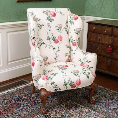 George III Style Wingback Upholstered Chair on Walnut Ball and Claw Feet