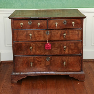 George II Walnut and Featherbanded Chest of Drawers, Mid-18th Century