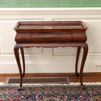 Queen Anne Style Burr Walnut Silver Table