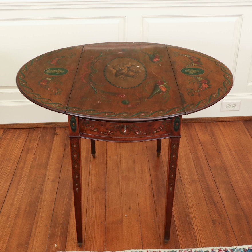 Victorian Satinwood Pembroke Table, Decorated in the Manner of Angelica Kauffman