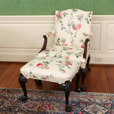 Floral Upholstered Ottoman and Kittinger Upholstered Chair on Ball and Claw Feet